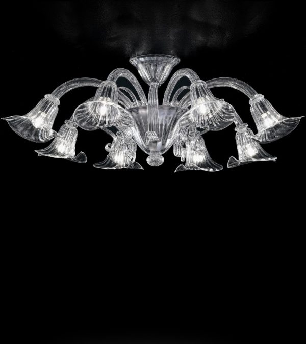 SAN MARCO - plafoniera cristallo 8 luci -vetro soffiato