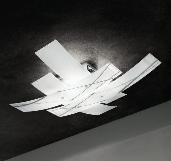 FRIDA - PLAFONIERA 91cm - 4 lastra satinate e serigrafate