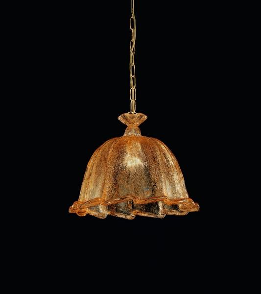 ARES - LAMPADARIO IN VETRO SOFFIATO - GRANIGLIA AMBRA 32cm