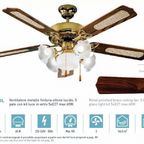 7066 OL Ventilatore Matallo Ottone lucido 5 Luci 5 Pale. Kit luce compreso. Funzione Reversibilità - PERENZ