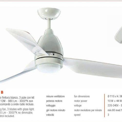 Ventilatore 3 Pale Bianco + Luce led. Perenz.