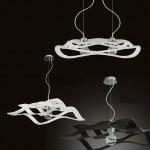 Libra Sospensione Design vetro bianco e nero