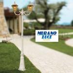 VENERE bianco - Palo 2 Luci - Luce da Esterno - 2xE27 - aLLUMINIO PRESSOFUSO