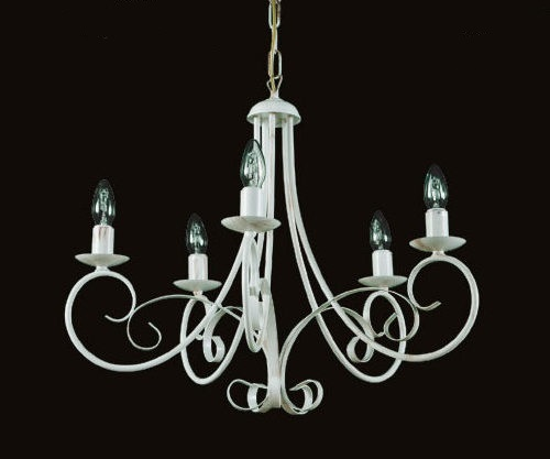 Lord - Lampadario 5 luci - Metallo Bianco Anticato - Linea classica Shabby