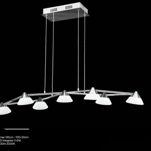 LAYLA Sospensione 7 Luci - Led Integrato - Luce Calda 3000k