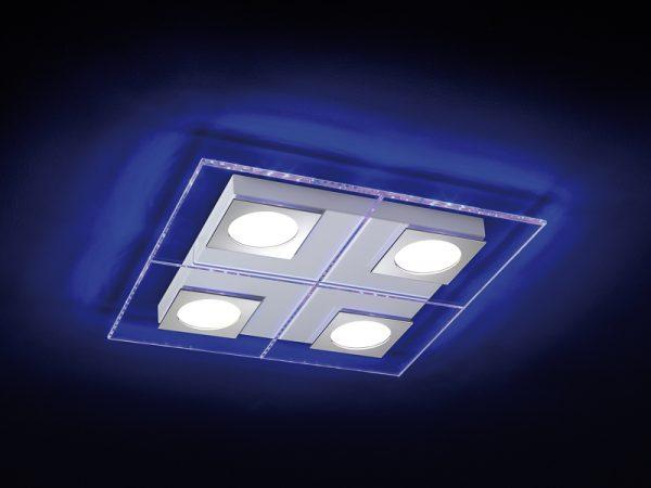 CLARIE PLAFONIERA CON VETRO MOLATO ILLUMINATO DA STRIP LED E LAMPADA GX53