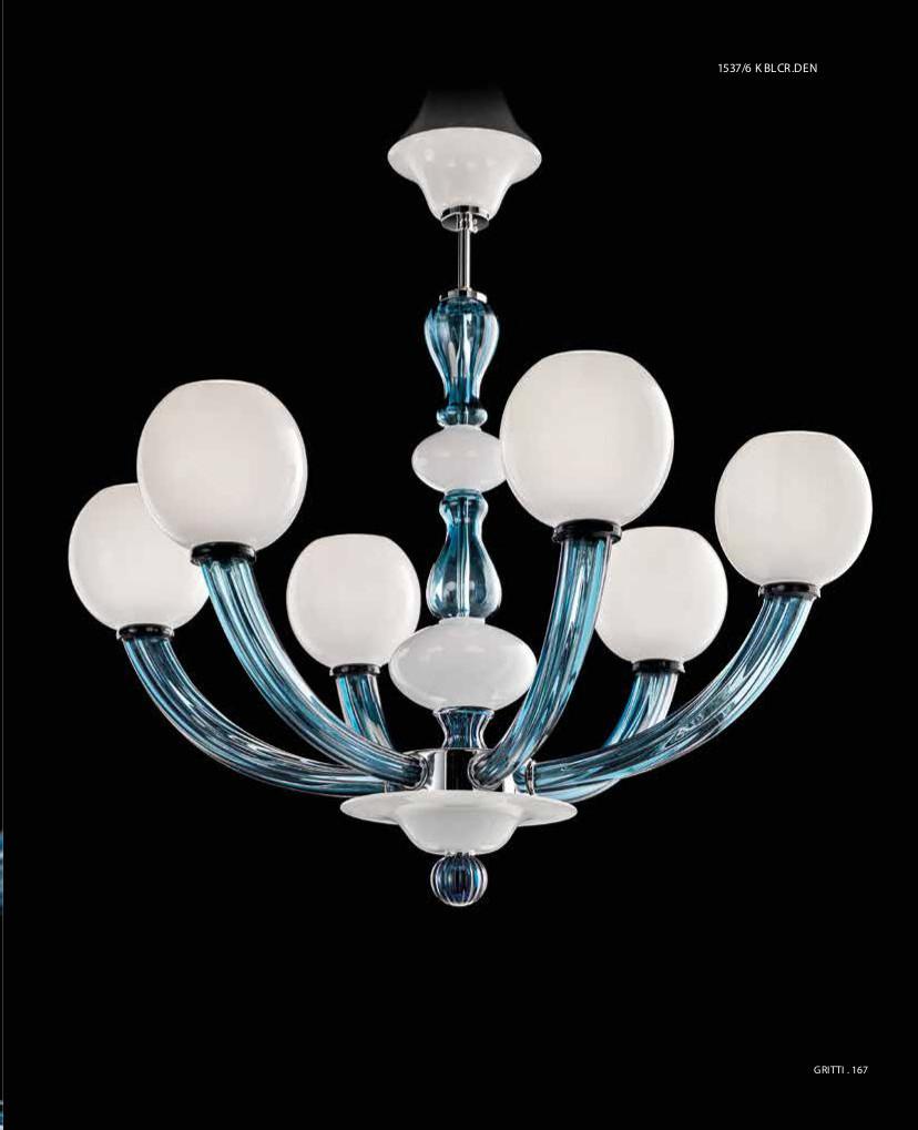 GRITTI - Lampadario 6 Luci - Biancolatte-Cristallo denim - Stile vetro di murano