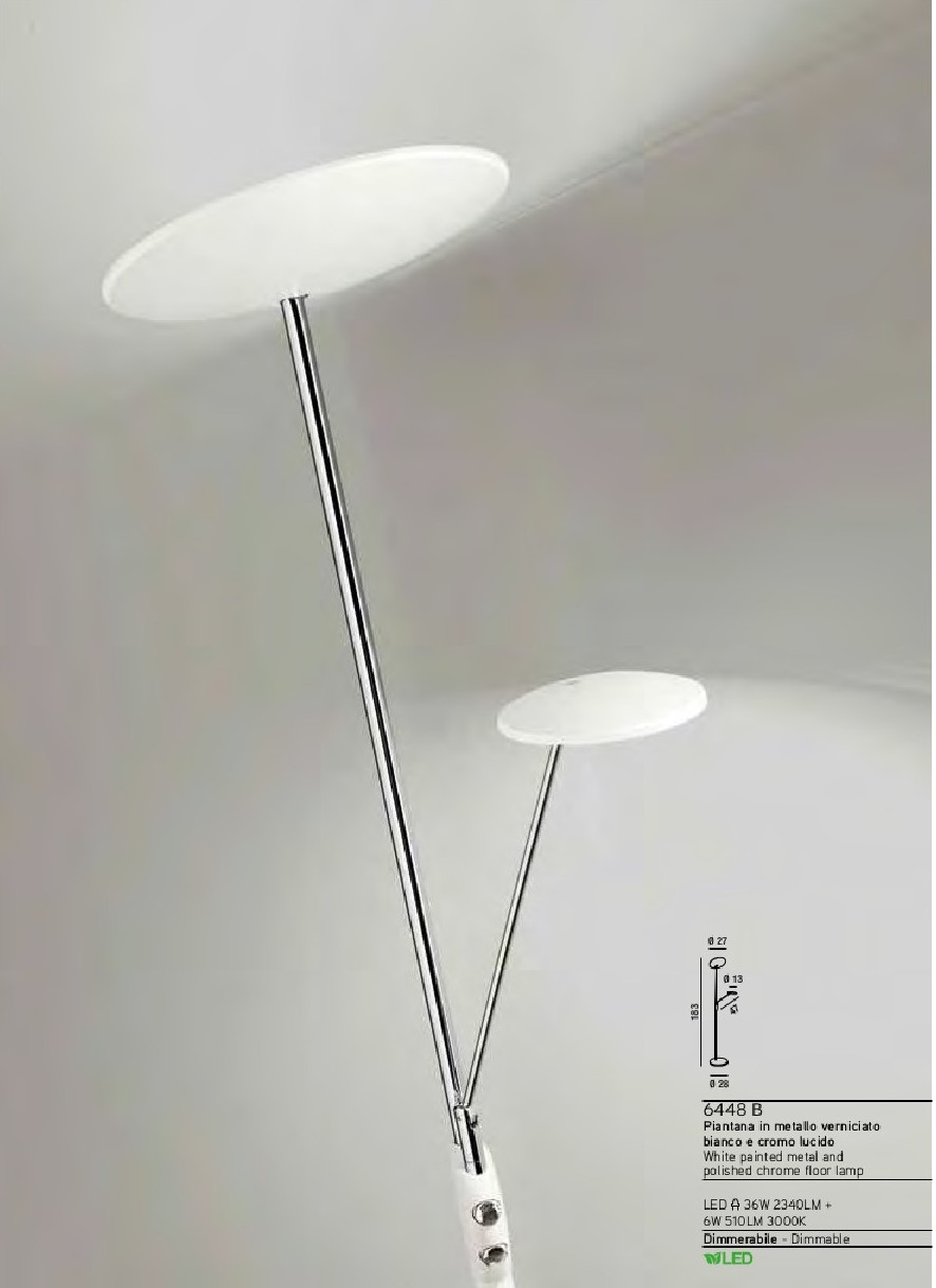 Lady Blanc - Piantana a Led Integrato - Luce Sopra 36W 2340 lumen - Luce Sotto 6W 510 lumen