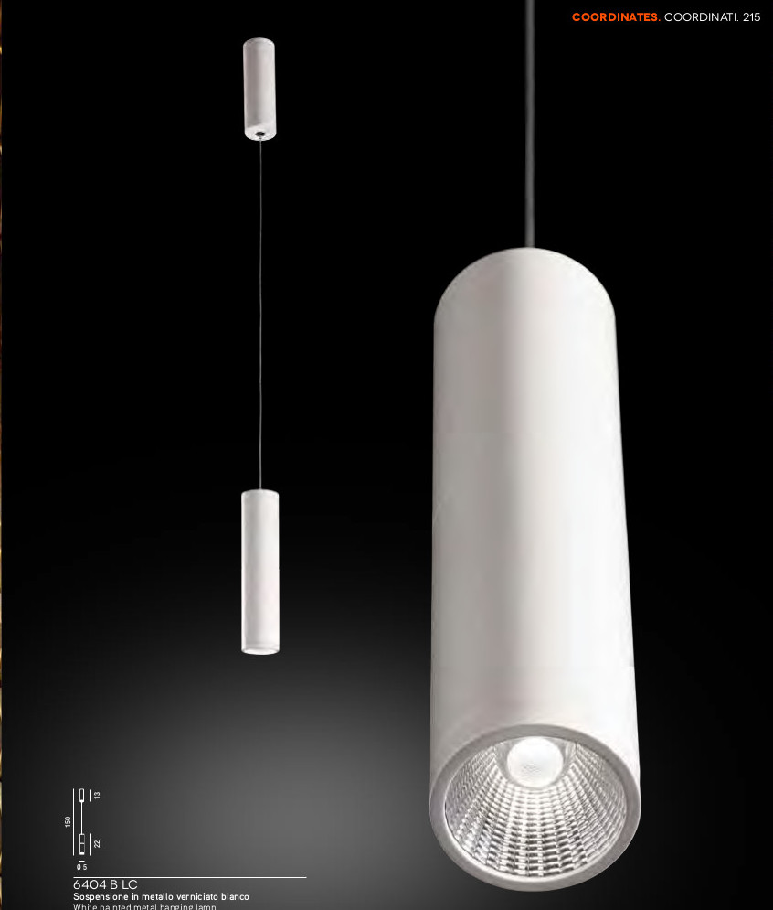 CILINDRO - SOSPENSION IN METALLO VERNCIATO - LED INTEGRATO 6,5W 3000K°