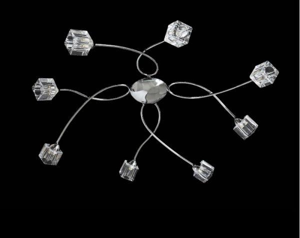 KELLY - PLAFONIERA 8 LUCI - VETRI CUBETTO