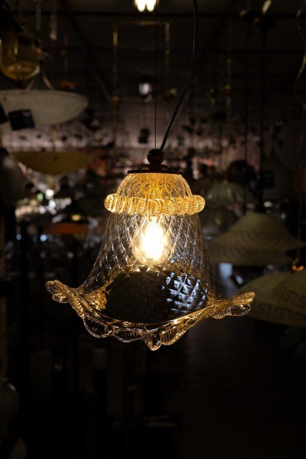 Lampadario veneziano - 1005 single - Vetro con morise oro rosa cristallo celeste oro rosa cristallo celeste