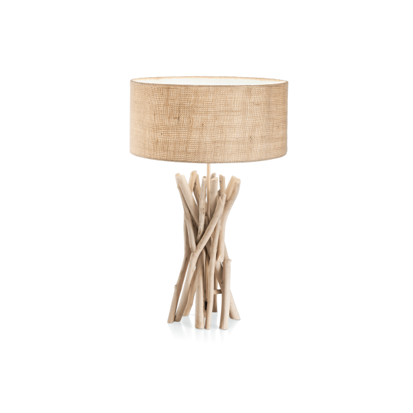 DRIFTWOOD - LAMPADA DA TAVOLO - STRUTTURA IN LEGNO - PARALUME IN PVC