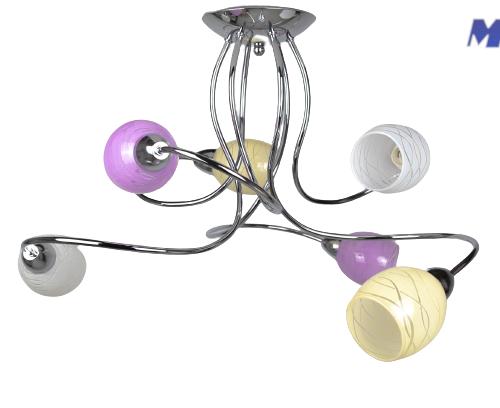 Moda' plafoniera da soffitto 6 luci - colors