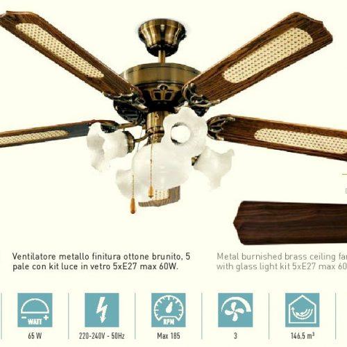 Ventilatore da soffitto 5 Pale ottone brunito. Kit luce compreso. 3 velocità. Kit luce compreso. PERENZ