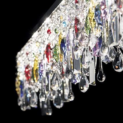Plaza Sospensione con Pendel colorati in cristallo