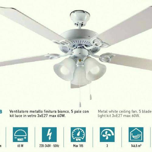 Ventilatore da soffitto 5 Pale BIANCO. Kit luce compreso. 3 velocità. Kit luce compreso. PERENZ