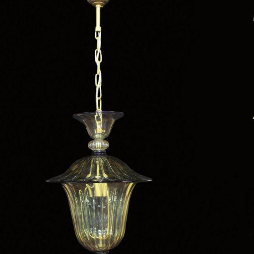 Lanterna Antique - Lanterna Veneziana - vetro soffiato - Color Cristallo Antico e Blu - Luce 1xE27