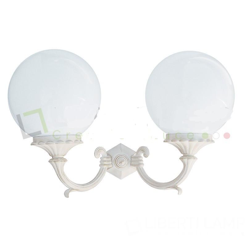 ORIONE bianco 2 luci - luce da esterno - Alluminio pressofuso - Diffusore in acrilico -light outdoor