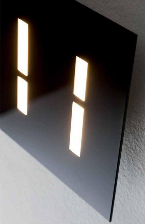 Aure Nero - Applique Led - Vetro Lucido Nero - 970 lumen