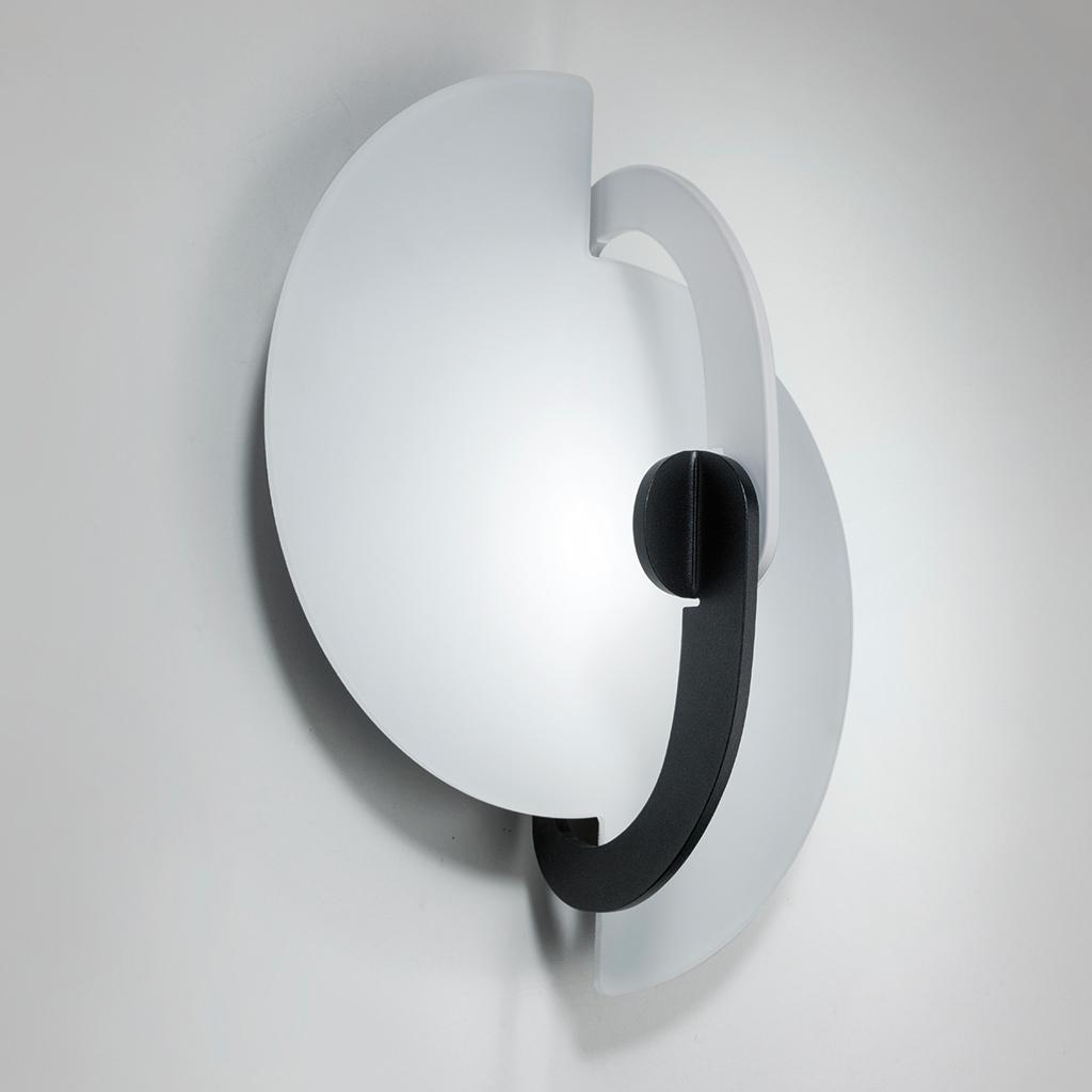 Real - Applique Plafoniera - Struttura Bianco Nero - Vetro Bianco