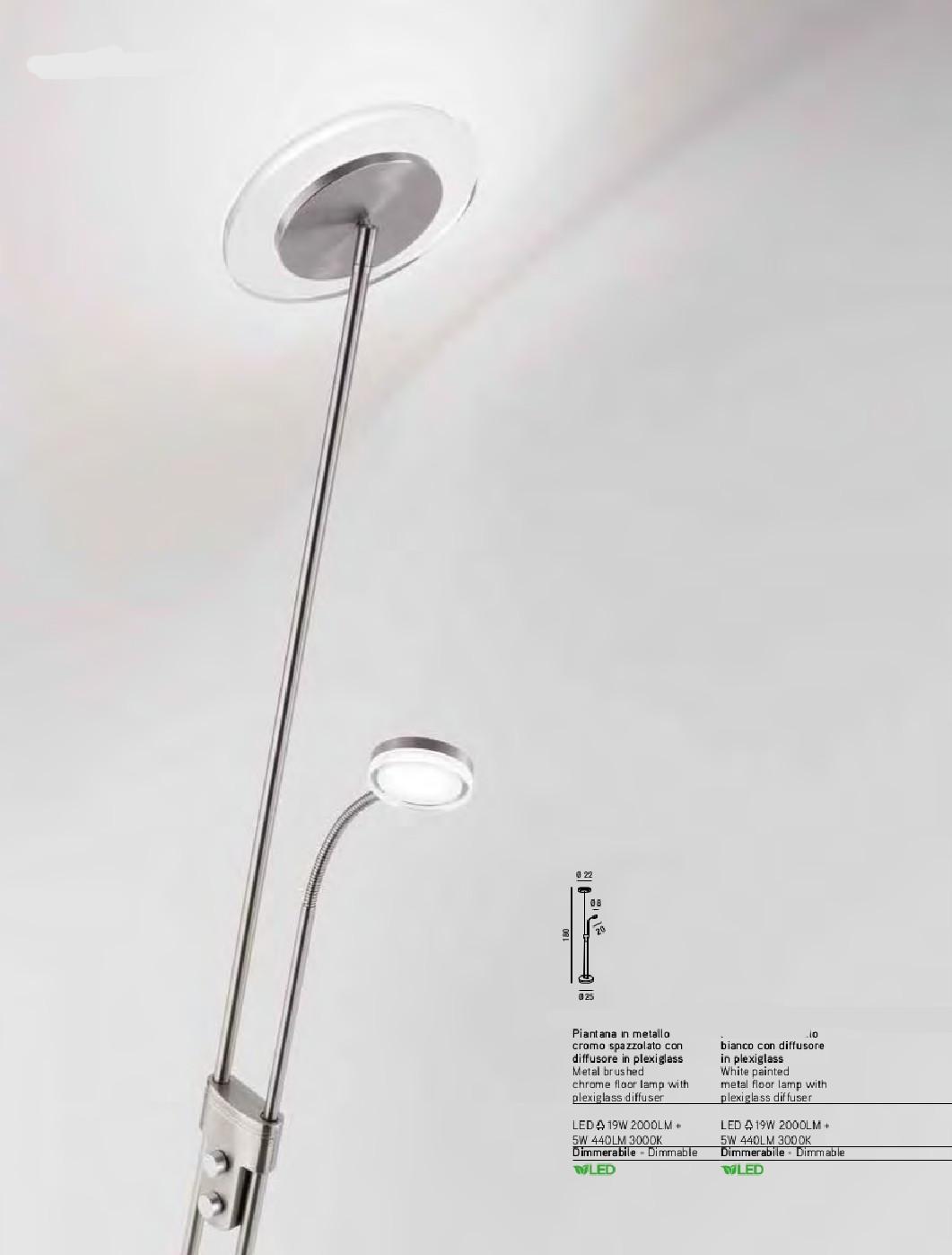 ALPHA - Piantana Snodabile a Led Integrato - Luce Superiore 19W 2000 lumen - Luce Braccio 5W 440 lumen
