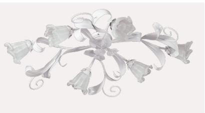 shabby shic - plafoniera 6 luci - in stile classico